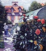 Dahlias: The Garden at Petit Gennevilliers - Gustave Caillebotte Oil Painting