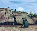 Peasant Woman Digging in Front of her Cottage - Vincent Van Gogh Oil Painting