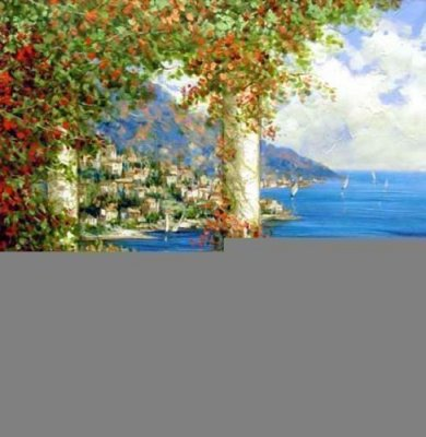 Mediterranean Scene Column - Oil Painting Reproduction On Canvas