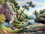 Cave Spring -Thomas Hart Benton Oil Painting