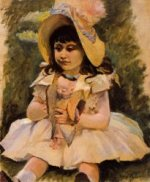 Little Girl with a Japanese Doll - Mary Cassatt Oil Painting