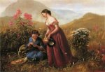 Gathering Wildflowers - Oil Painting Reproduction On Canvas