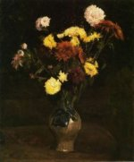 Basket of Carnations and Zinnias - Vincent Van Gogh Oil Painting