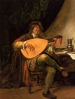 Self Portrait as a Lutenist - Jan Steen Oil Painting