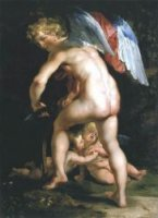 Cupid Making His Bow - Peter Paul Rubens Oil Painting