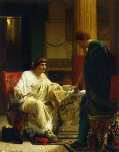 Vespasian Hearing from One of His Generals of the Taking of Jerusalem by Titus - Sir Lawrence Alma-Tadema Oil Painting