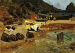 Fishing Boats at Capri - Albert Bierstadt Oil Painting