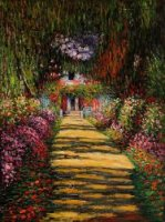 Garden Path at Giverny III - Claude Monet Oil Painting