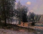 Cabins by the River Loing, Morning - Alfred Sisley Oil Painting