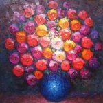 A Bunch of Flowers in a Blue Vase - Oil Painting Reproduction On Canvas