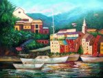 Lazy Boat Dock - Oil Painting Reproduction On Canvas