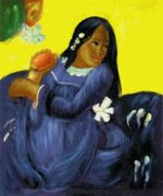 Woman with a Mango II - Oil Painting Reproduction On Canvas
