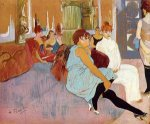 The Salon in the Rue des Moulins II - Henri De Toulouse-Lautrec Oil Painting
