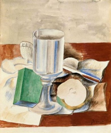 Still Life with Class and an Apple - Pablo Picasso Oil Painting