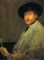 Arrangement in Grey: Portrait of the Painter - James Abbott McNeill Whistler Oil Painting