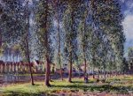 Lane of Poplars at Moret - Alfred Sisley Oil Painting