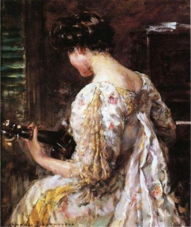 Woman with Guitar - Oil Painting Reproduction On Canvas