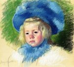 Head of Simone in a Large Plumes Hat, Looking Left - Mary Cassatt Oil Painting