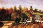 Autumn Scene in North Carolina with Cabin, Wash Line, and Cornfield - William Aiken Walker Oil Painting