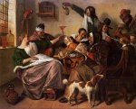 As the Old Sing, So Pipe the Young - Jan Steen oil painting