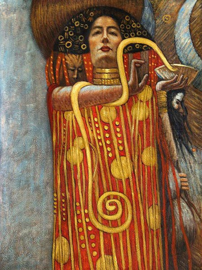 Hygieia detail from medicine gustav klimt oil painting for Gustav klimt original paintings for sale