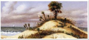 Florida Seascape with Sand Dune, Palm Tree, Yucca, Cactus and Sailboat - William Aiken Walker Oil Painting