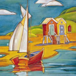 Yacht and Cabins - Oil Painting Reproduction On Canvas
