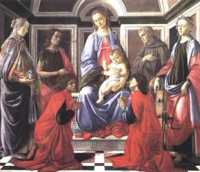 Madonna and Child with Six Saints (Sant'Ambrogio Altarpiece) - Sandro Botticelli oil painting