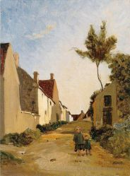 Village Street - Jean Frederic Bazille Oil Painting