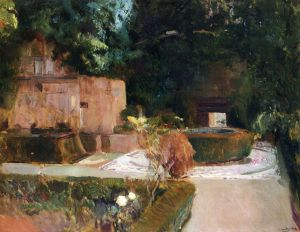 The Los Adarves Gardens, The Alhambra, Granada -  Joaquin Sorolla y Bastida Oil Painting
