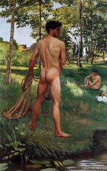 Fisherman with a Net - Jean Frederic Bazille Oil Painting