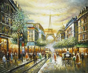 Buggy Ride Through Paris - Oil Painting Reproduction On Canvas