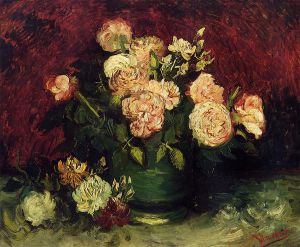 Bowl with Peonies and Roses - Vincent Van Gogh Oil Painting
