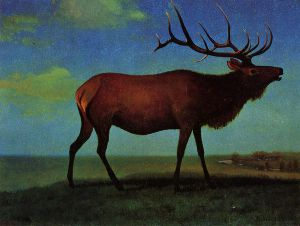 Elk - Albert Bierstadt Oil Painting