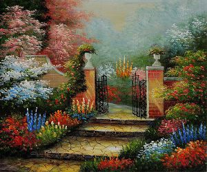 The Victorian Garden - Oil Painting Reproduction On Canvas