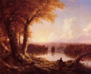 Indian at Sunset - Thomas Cole Oil Painting