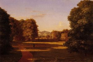 The Gardens of the Van Rensselaer Manor House - Thomas Cole Oil Painting