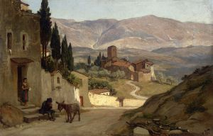Near Perugia - Elihu Vedder Oil Painting
