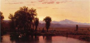 Indians Crossing the Platte River - Thomas Worthington Whittredge Oil Painting