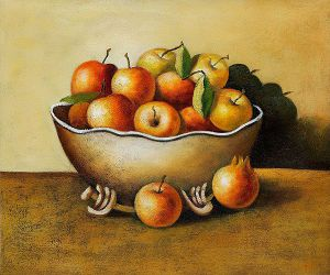 Apples in an Antique Bowl - Oil Painting Reproduction On Canvas