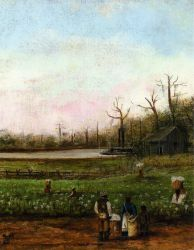 Cottonfield with Bayou, Steamboat, Road, Cabin and Fieldhands - William Aiken Walker Oil Painting