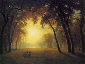 Deer in a Clearing - Albert Bierstadt Oil Painting