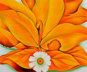 Yellow Hickory Leaves with Daisy - Georgia O'Keeffe Oil Painting