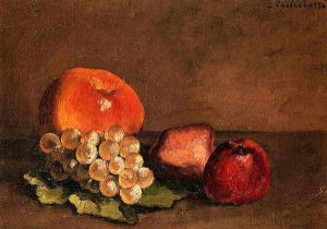 Peaches, Apples and Grapes on a Vine Leaf - Gustave Caillebotte Oil Painting