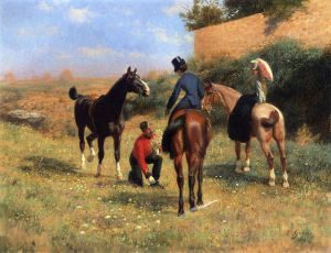 Before the Hunt - Jean Richard Goubie Oil Painting