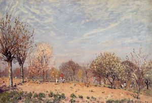 Apple Trees in Flower, Spring Morning - Alfred Sisley Oil Painting