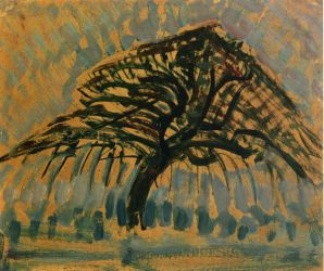 Study for Blue Apple Tree Series - Piet Mondrian Oil Painting
