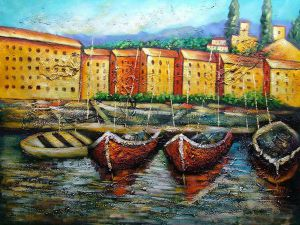 Boat Dock - Oil Painting Reproduction On Canvas