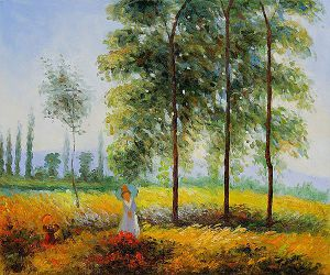 Under the Poplars, Sunlight Effect - Claude Monet Oil Painting