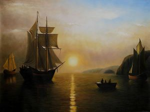 A Sunset Calm in the Bay of Fundy - Oil Painting Reproduction On Canvas